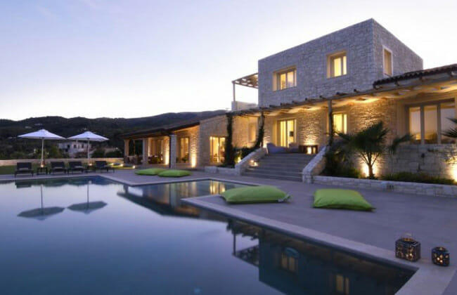 beautiful villa at dusk